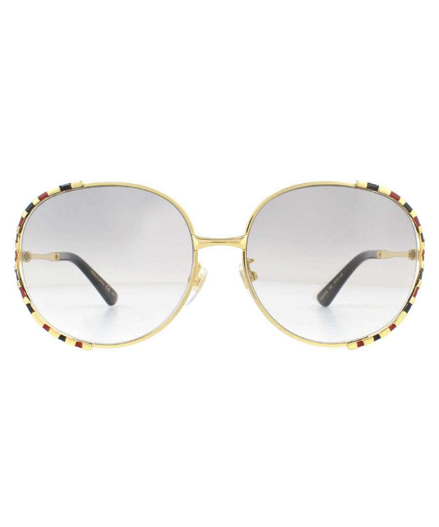 Image for Gucci Sunglasses GG0595S 002 Gold with Red and Black Grey Gradient