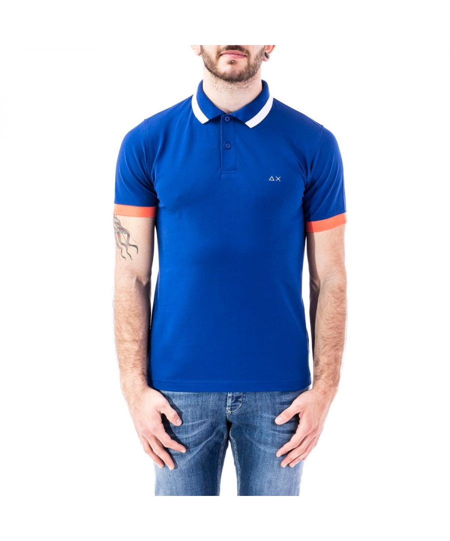 Image for SUN 68 MEN'S A3010758 BLUE COTTON POLO SHIRT
