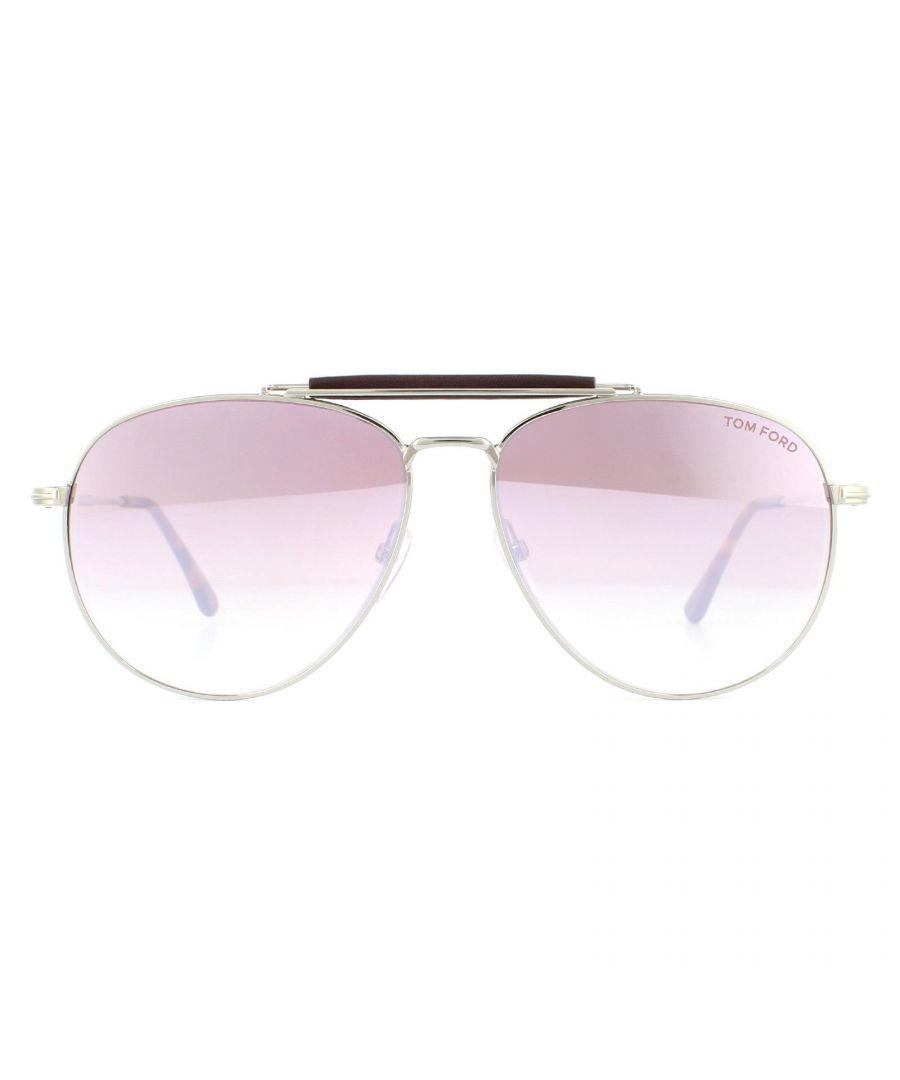 Image for Tom Ford Sunglasses Sean FT0536 16Z Shiny Palladium Light Pink Mirror Gradient