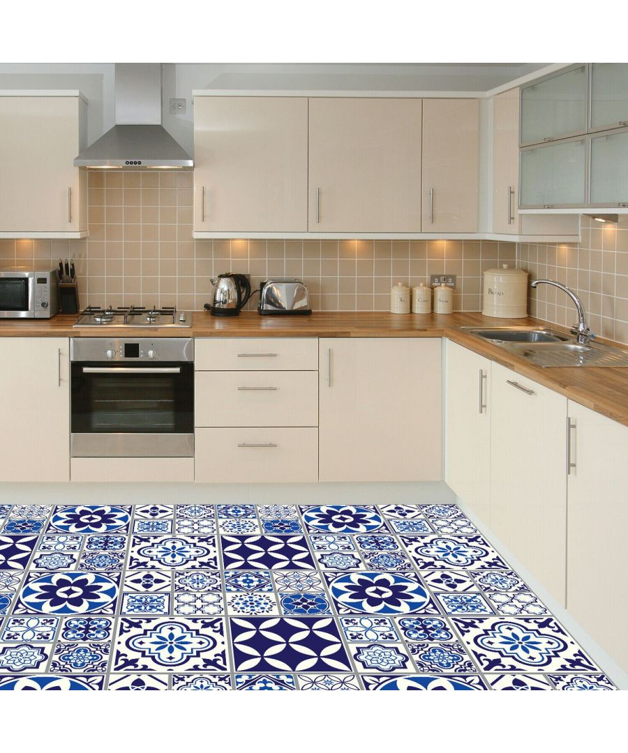 Image for Spanish and Moroccan Blue Tiles Melange Floor Sticker 120cm x 60 cm , Kitchen, Bathroom, Living room, Self-adhesive