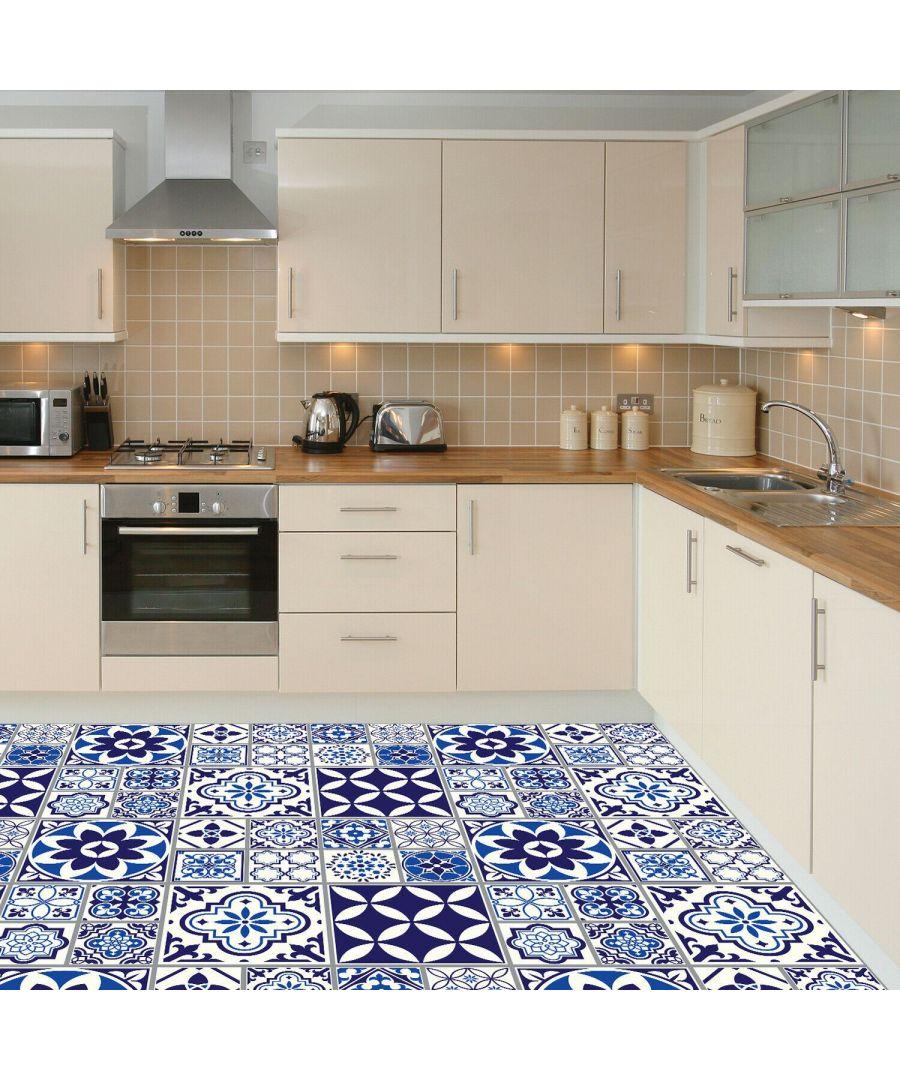 Image for Spanish and Moroccan Blue Tiles Melange Floor Sticker 120cm x 60 cm , Kitchen, Bathroom, Living room, Self-adhesive