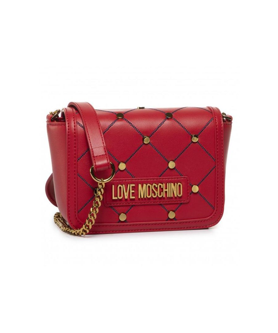 Image for Love Moschino Studded Flap Over Crossbody Bag in Red
