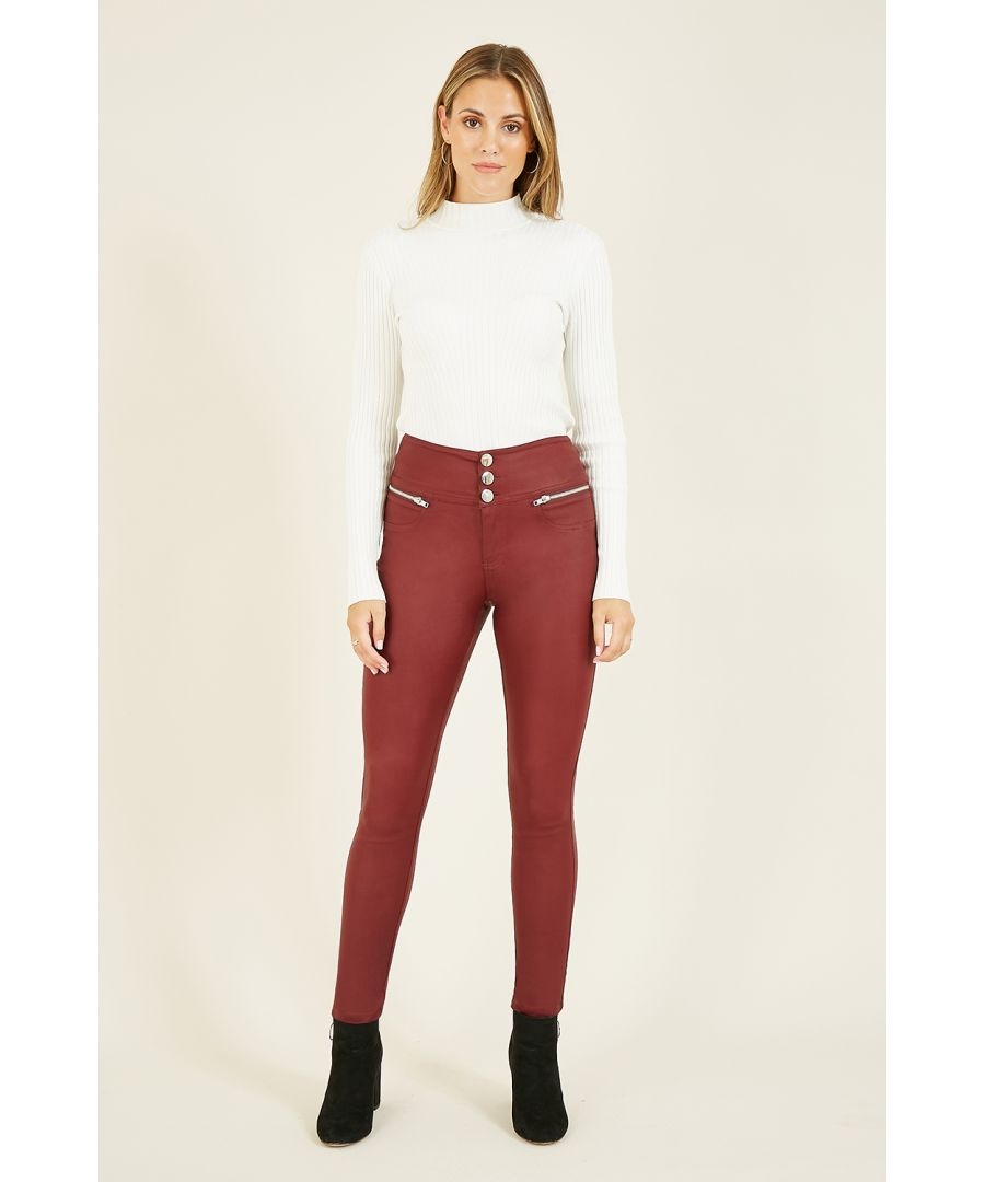 Image for Yumi Rust Wet Look Jegging