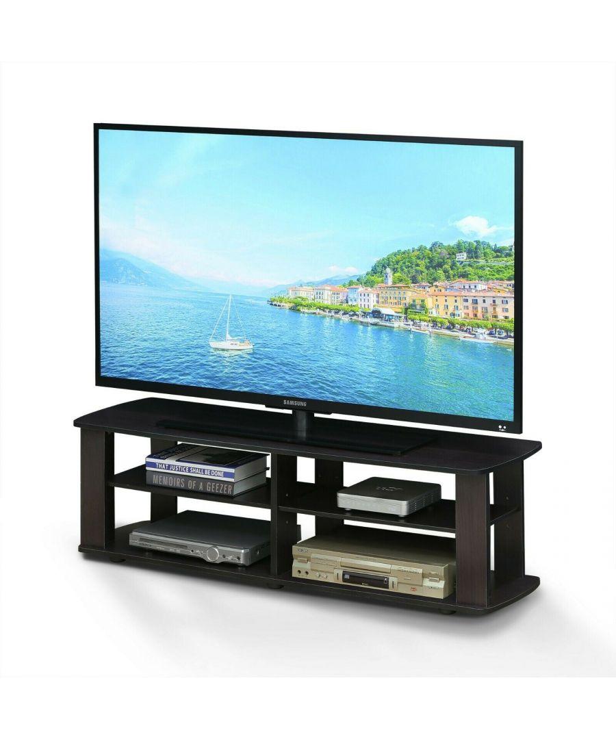 Image for Furinno 11191DWN THE Entertainment Center TV Stand, Dark Walnut