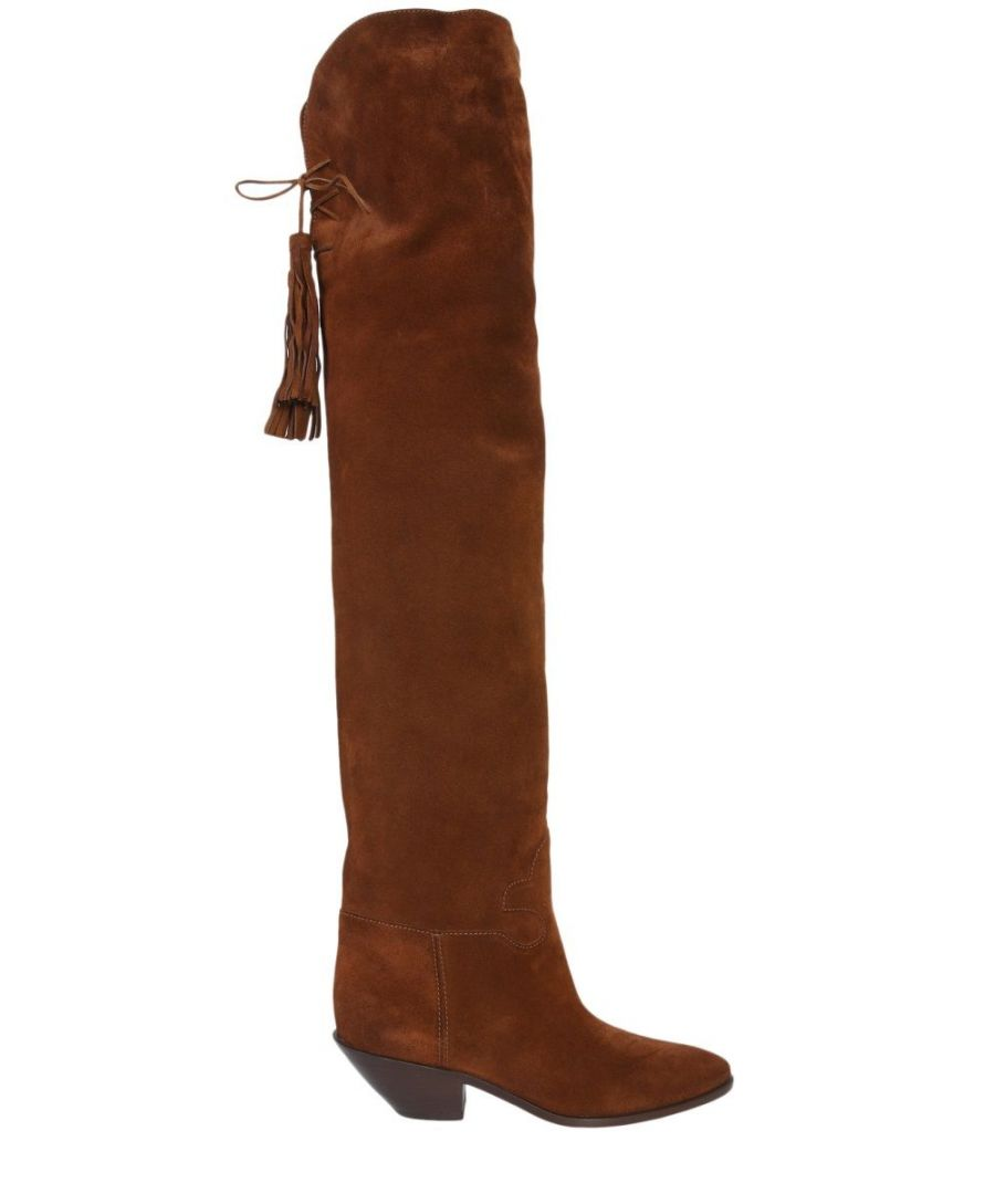 Image for SAINT LAURENT WOMEN'S 5293920RN302529 BROWN LEATHER BOOTS