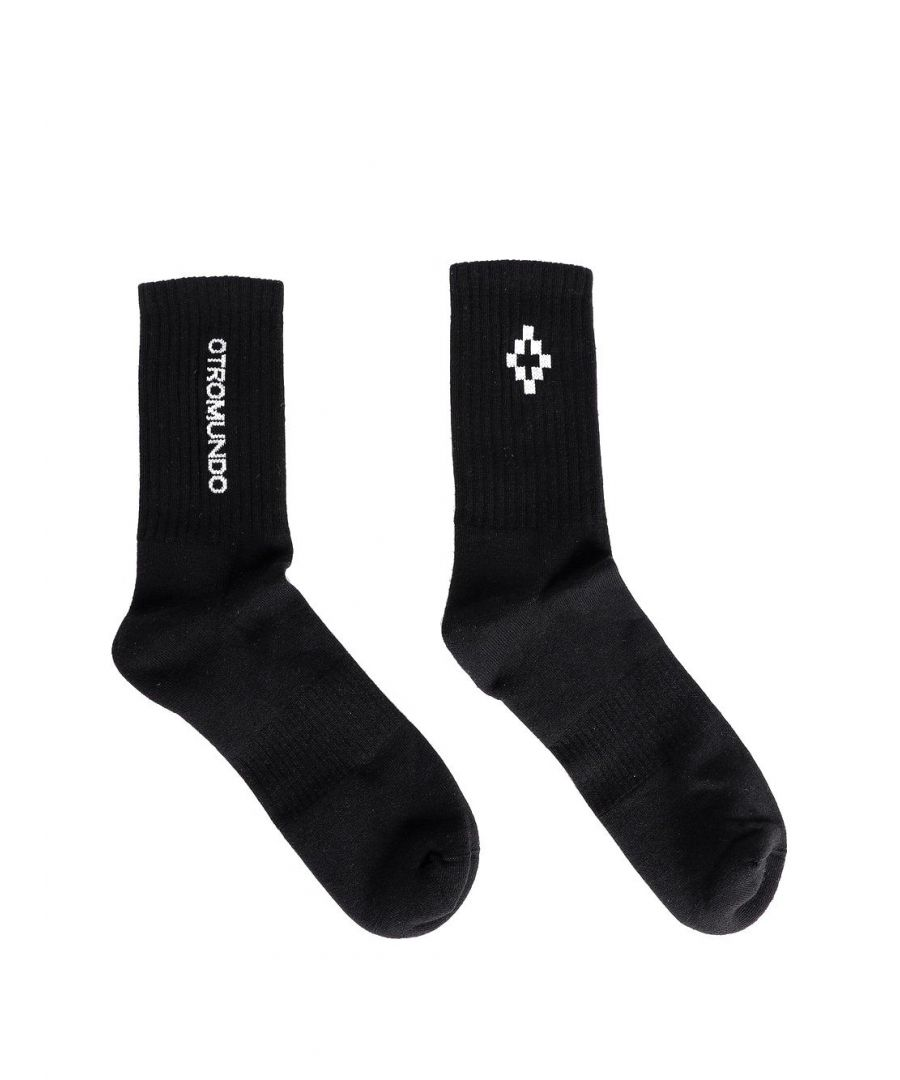 Image for MARCELO BURLON MEN'S CMRA008R20FAB0021001 BLACK COTTON SOCKS