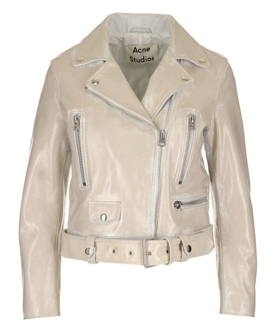 Image for ACNE STUDIOS WOMEN'S A70056WHITE WHITE LEATHER OUTERWEAR JACKET