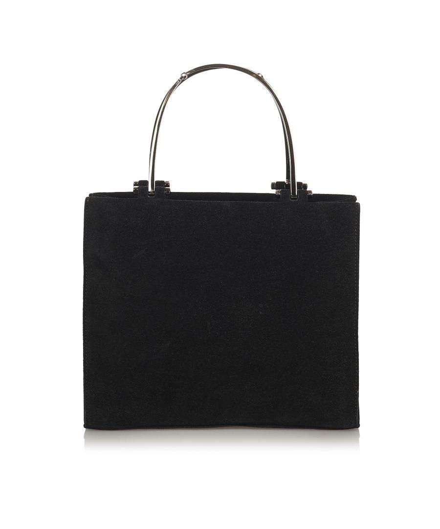 Image for Vintage Gucci Suede Metal Handbag Black