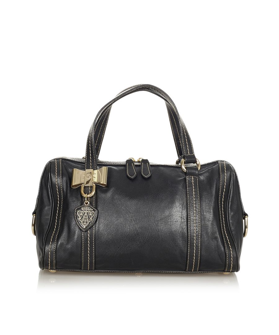 Image for Vintage Gucci Duchessa Leather Handbag Black