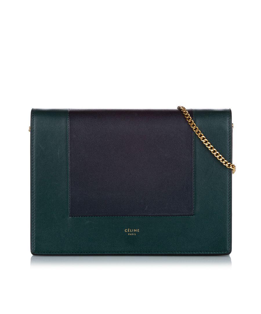 Image for Vintage Celine Frame Leather Wallet On Chain Green