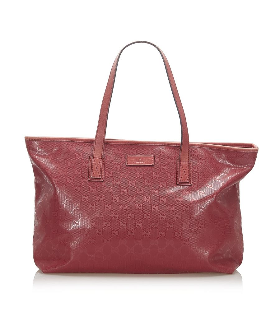 Image for Vintage Gucci GG Imprime Tote Bag Red