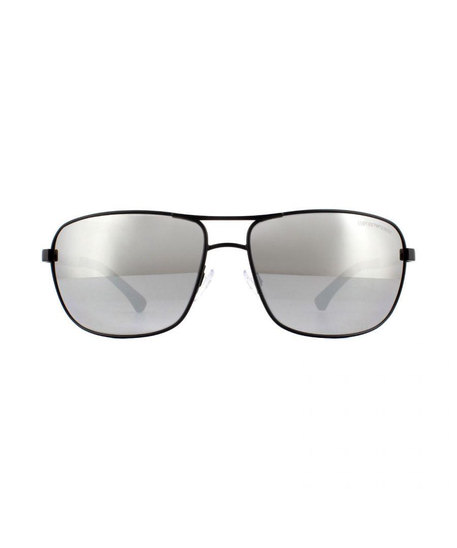 Image for Emporio Armani Sunglasses 2033 3001Z3 Matte Black Grey Mirror Silver