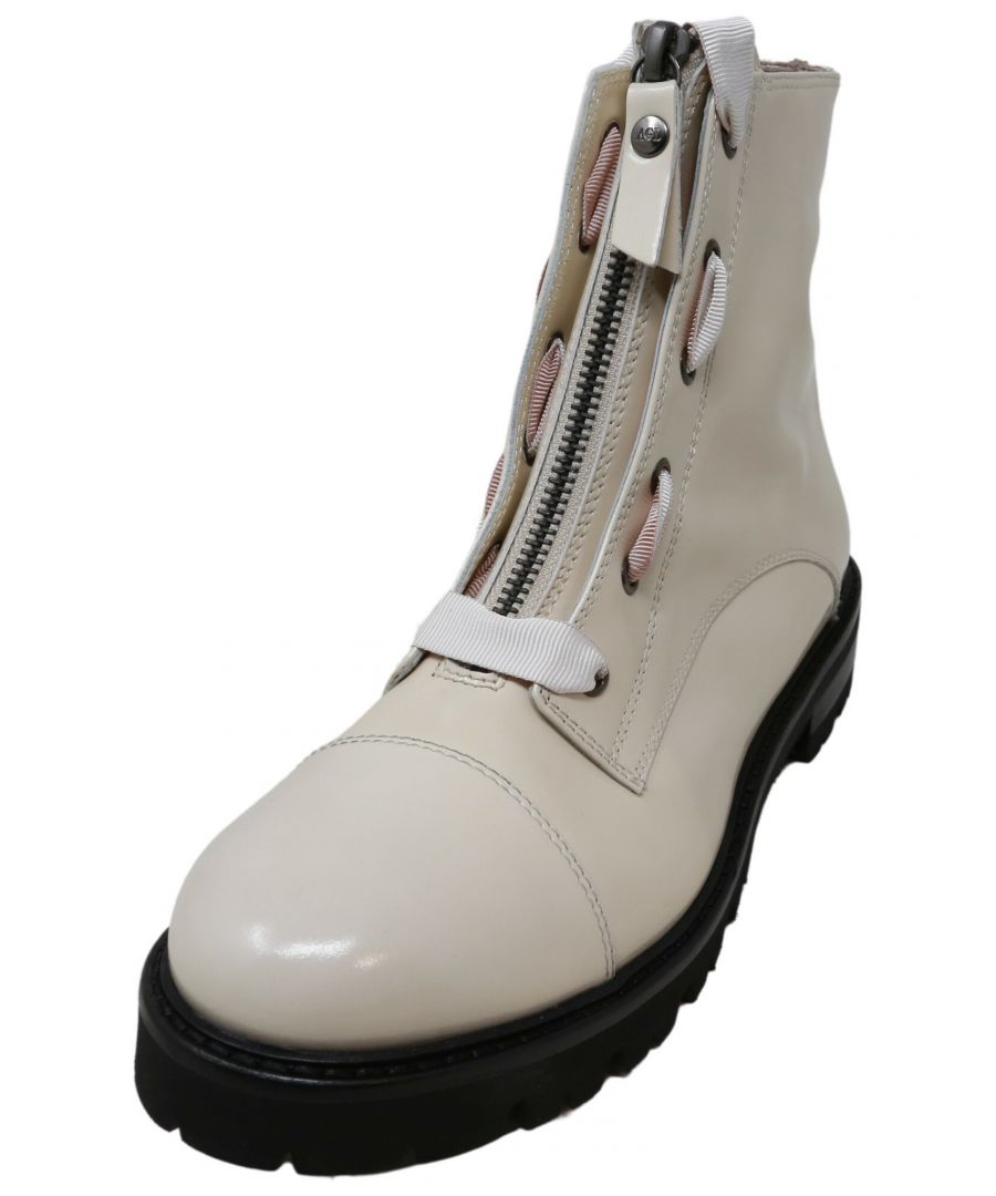 Image for Agl Women's Grosgrain Combat Boot Ice Ankle-High Leather - 8.5M
