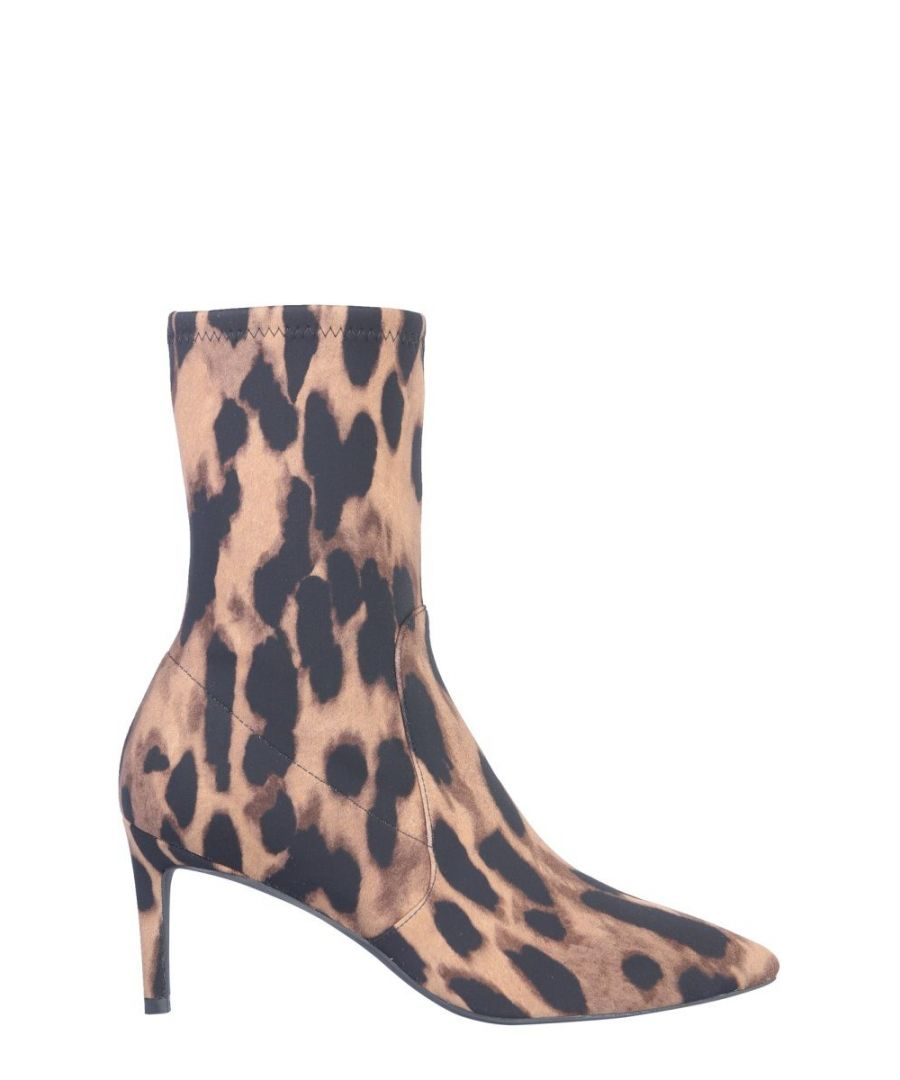 Image for STUART WEITZMAN WOMEN'S WREN75LEOPARDSTRECHCLASSI BEIGE LEATHER ANKLE BOOTS