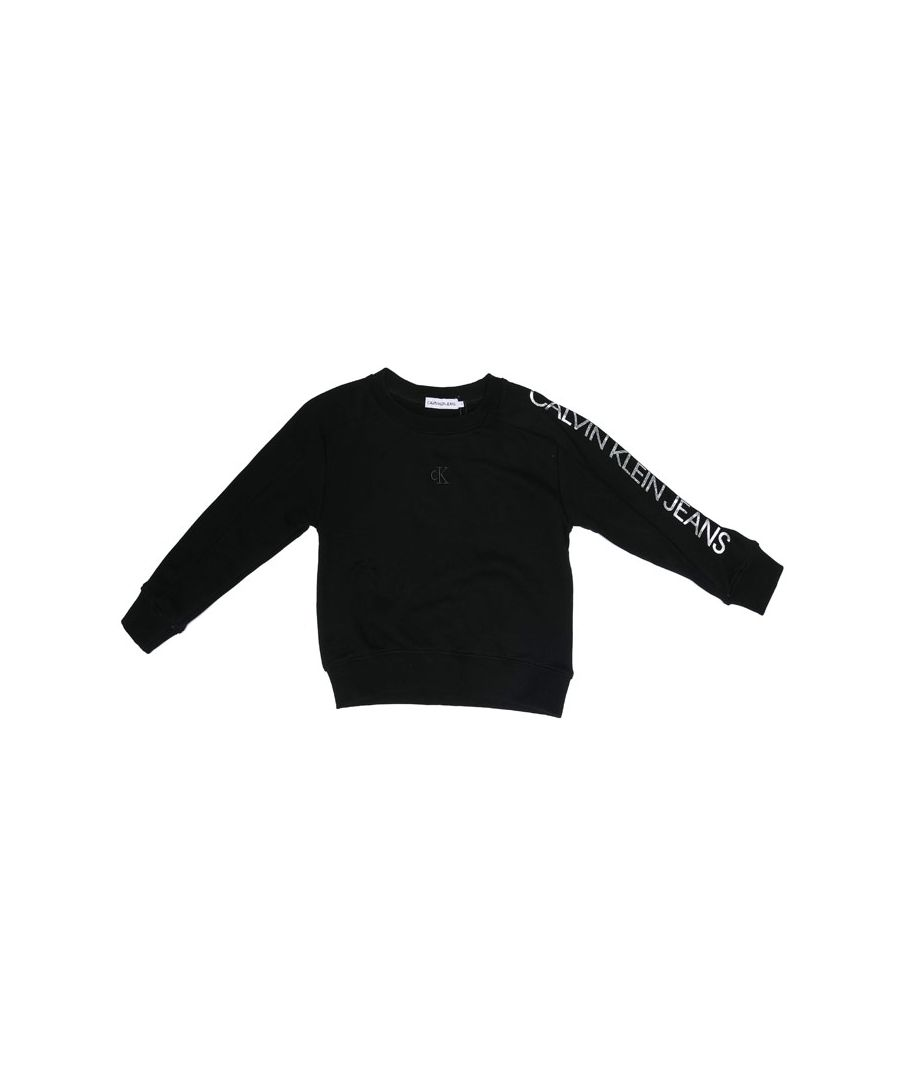 Image for Girl's Calvin Klein Junior Logo Sleeve Crew Sweat in Black