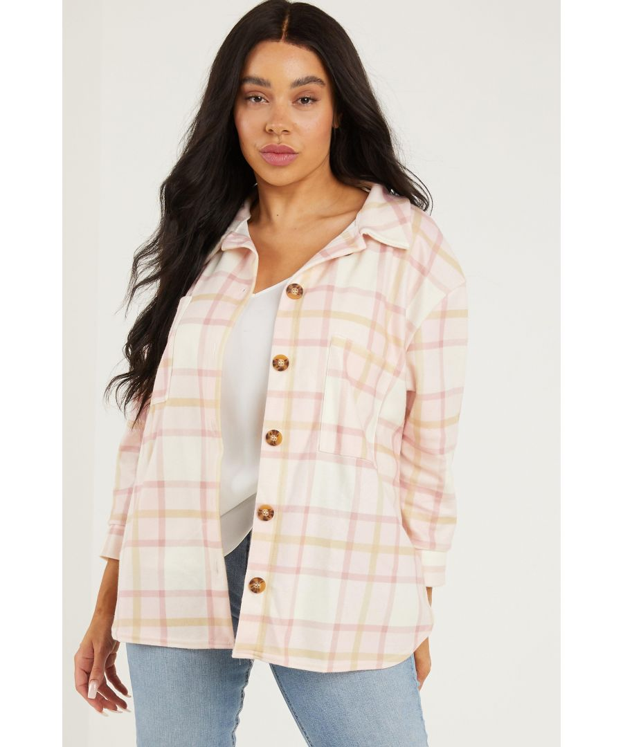 Image for Curve Pink Checked Shacket