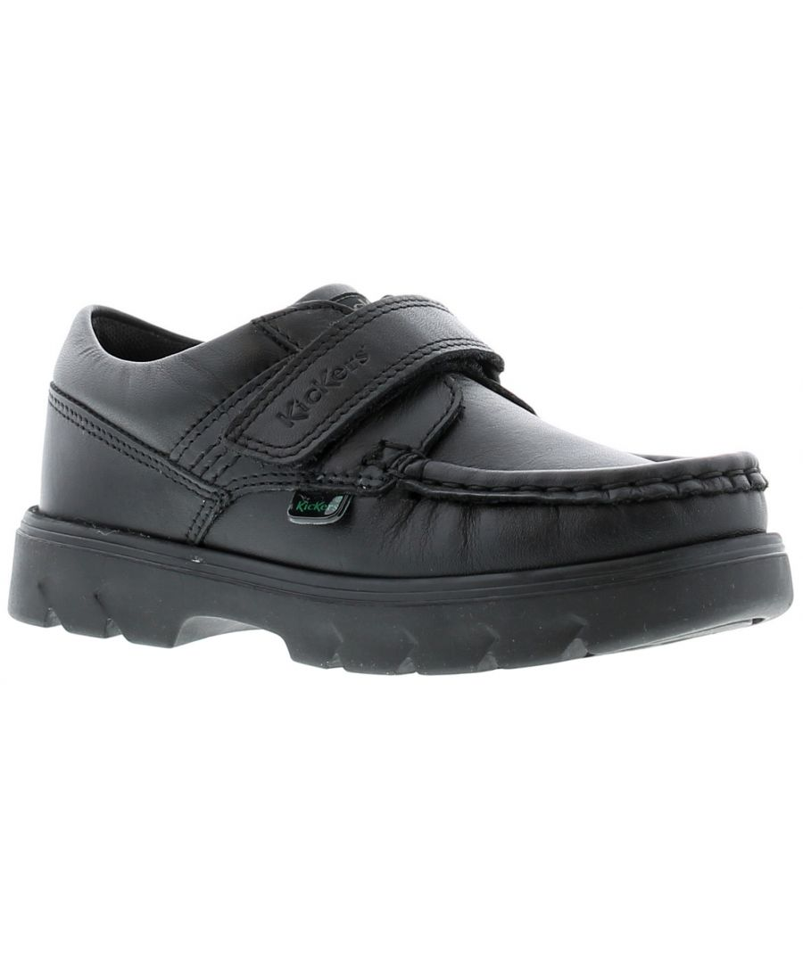 Image for Kickers carter lo leather Infants Boys Black School Shoes