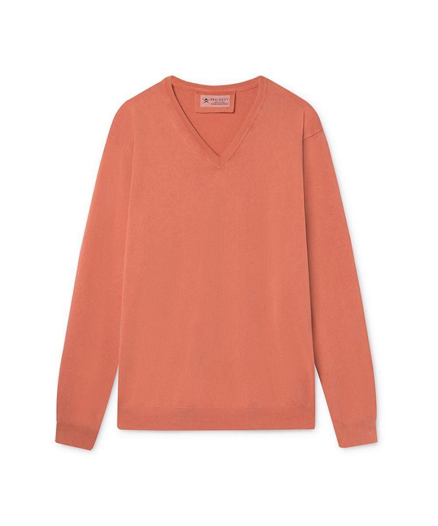 Image for Men's Hackett,  FN GG Garment Dyed V Neck Sweater in Orange