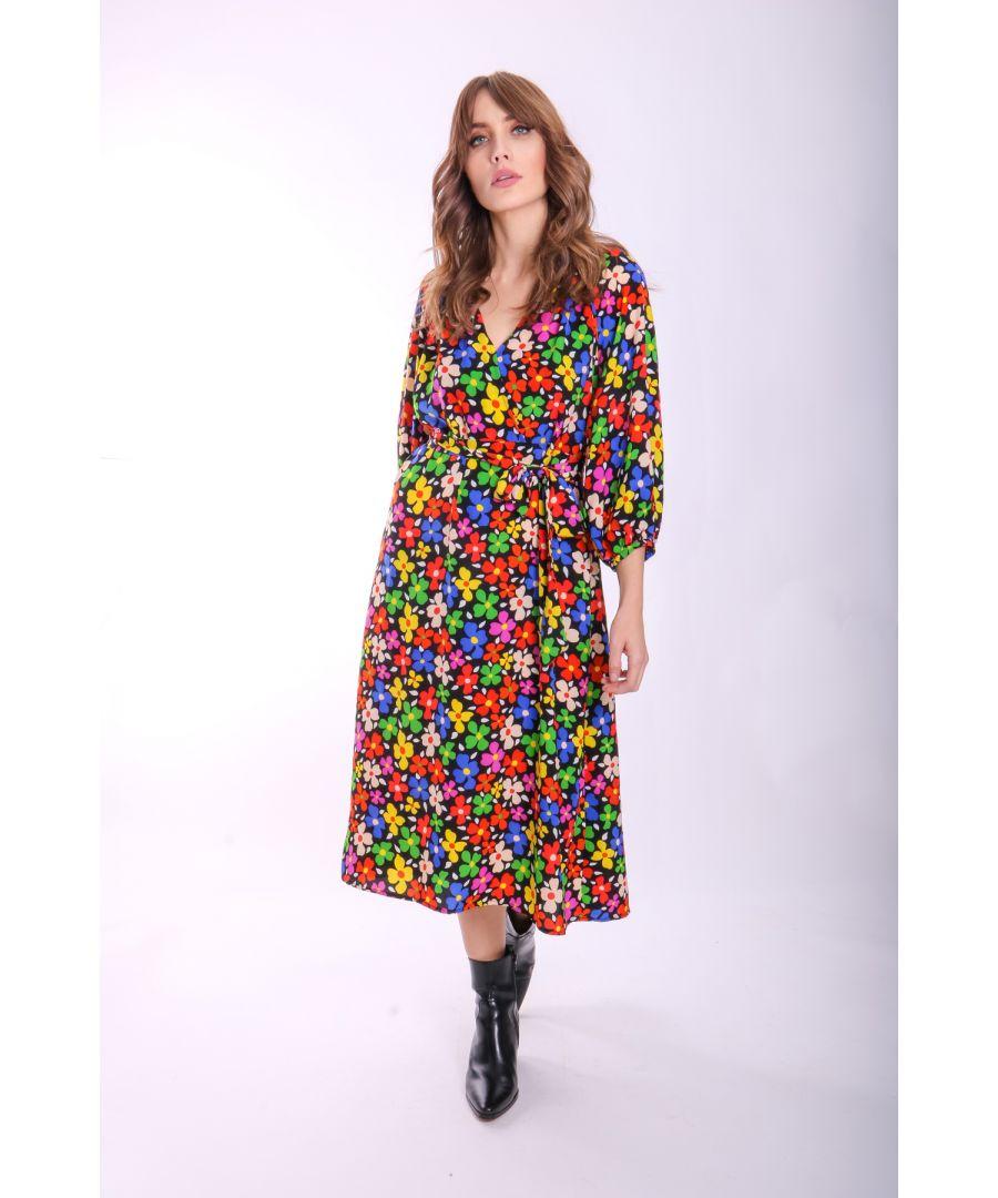 Image for Belt Up Wrap Floral Dress in Black