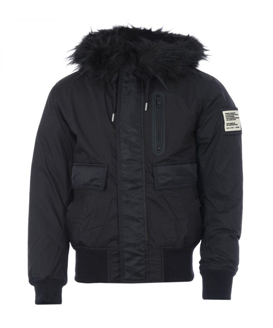 Image for Diesel W-Burkisk Padded Faux Fur Hooded Jacket - Black