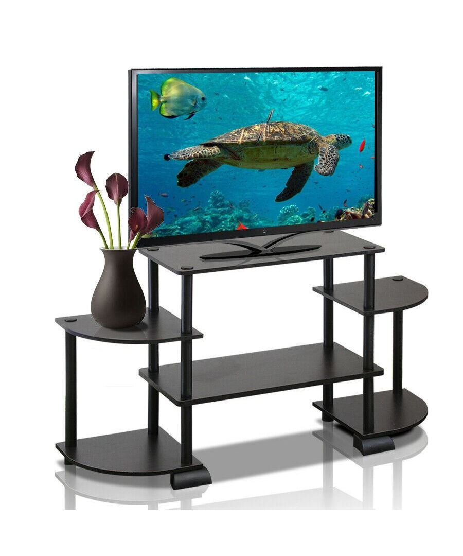 Image for Furinno 12258EX/BK Turn-N-Tube Roundedecorner TV Entertainment Center, Espresso/Black