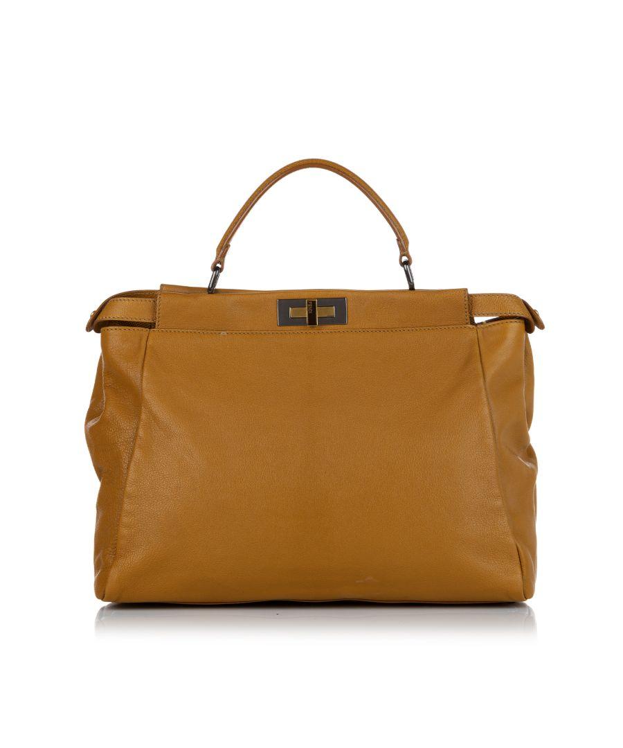 Image for Vintage Fendi Large Peekaboo Leather Satchel Brown
