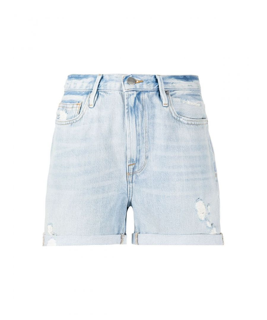 Image for FRAME WOMEN'S LBUSCF385ACTRR LIGHT BLUE COTTON SHORTS