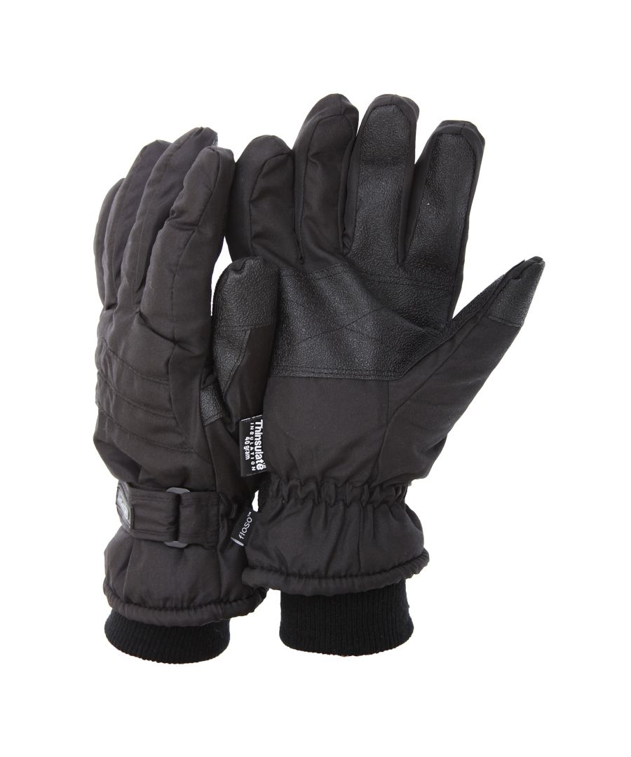 Image for FLOSO Mens Thinsulate Padded Thermal Gloves With Palm Grip (3M 40g) (Black (As Shown))