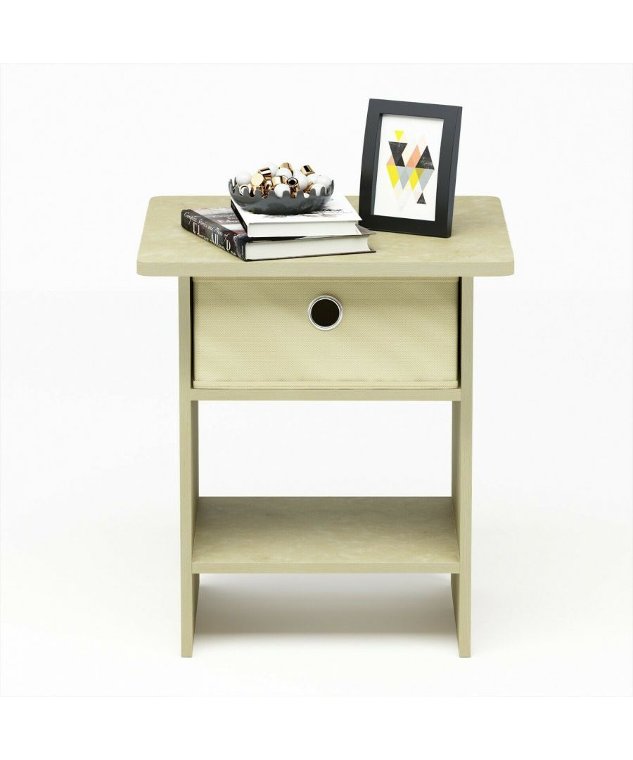 Image for Furinno Dario End Table Night Stand Storage Shelf with Bin Drawer - Cream Faux Marble/Ivory