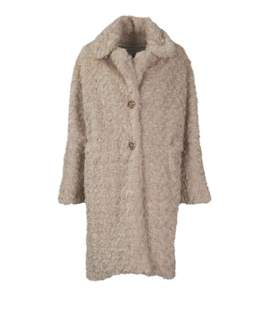 Image for PINK MEMORIES WOMEN'S 1079024 BEIGE POLYESTER COAT