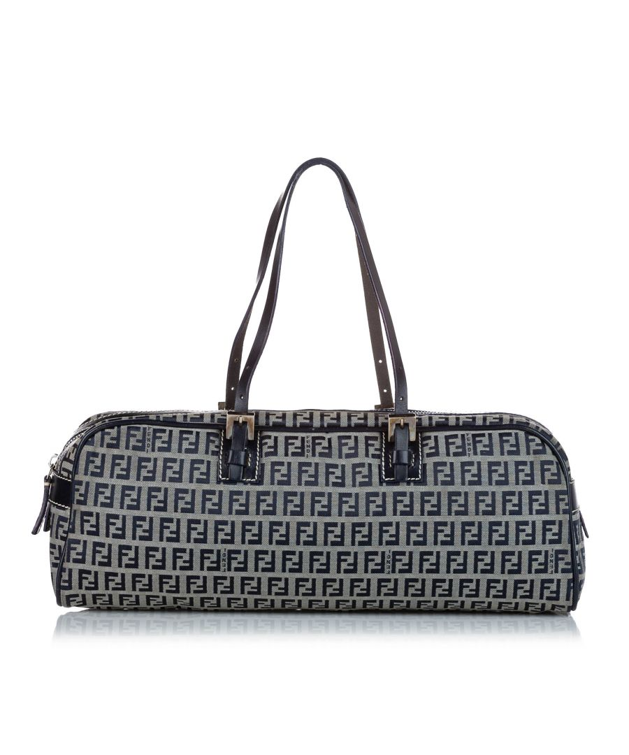 Image for Vintage Fendi Zucchino Canvas Handbag Gray