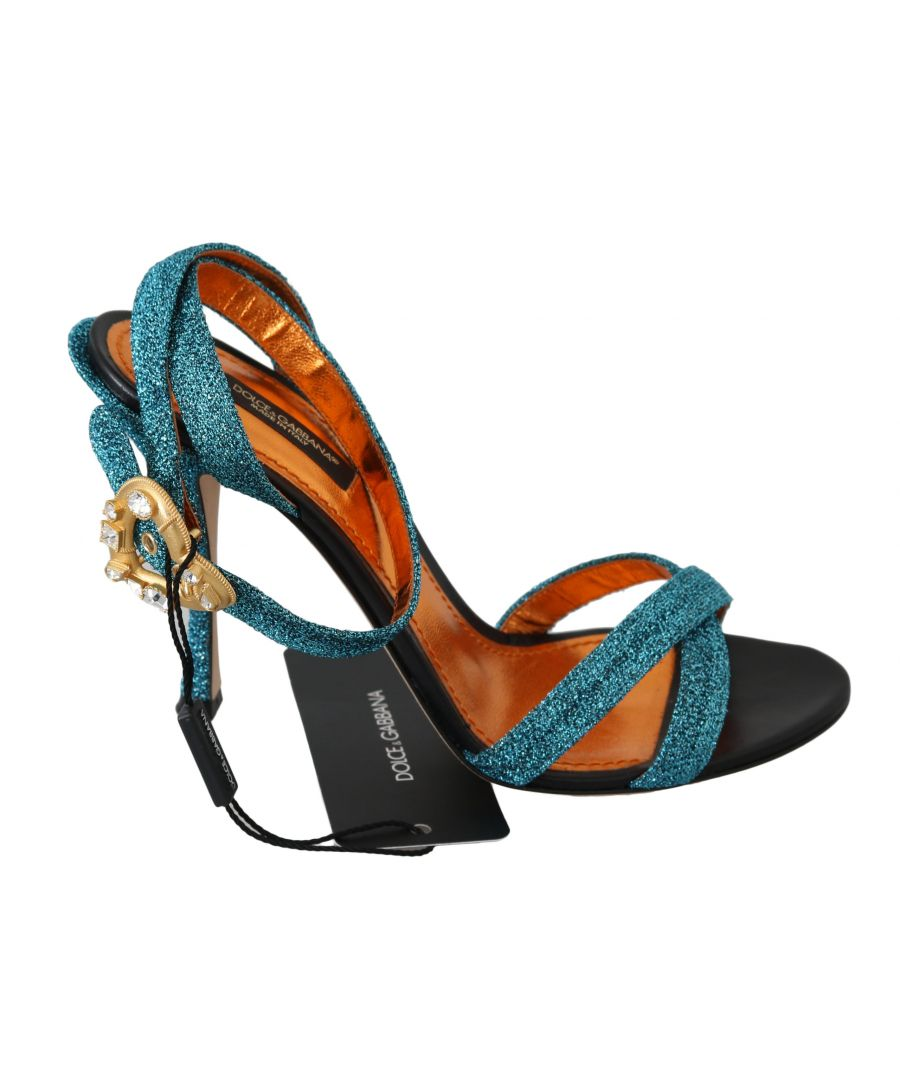 Image for Dolce & Gabbana Blue Crystal Gold Heart Sandals Shoes