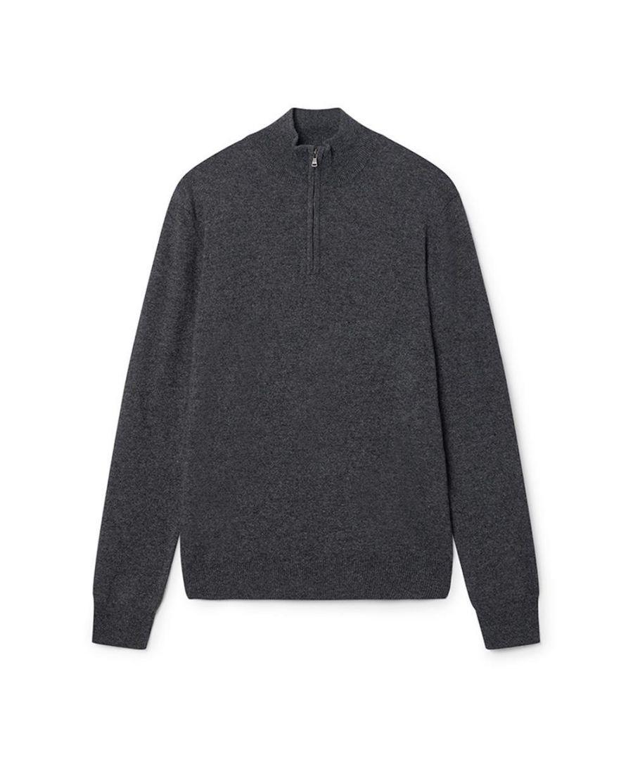 Image for Men's Hackett, MVPC Half Zip Knitwear in Graphite