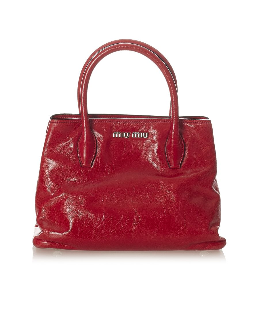 Image for Vintage Miu Miu Leather Satchel Red