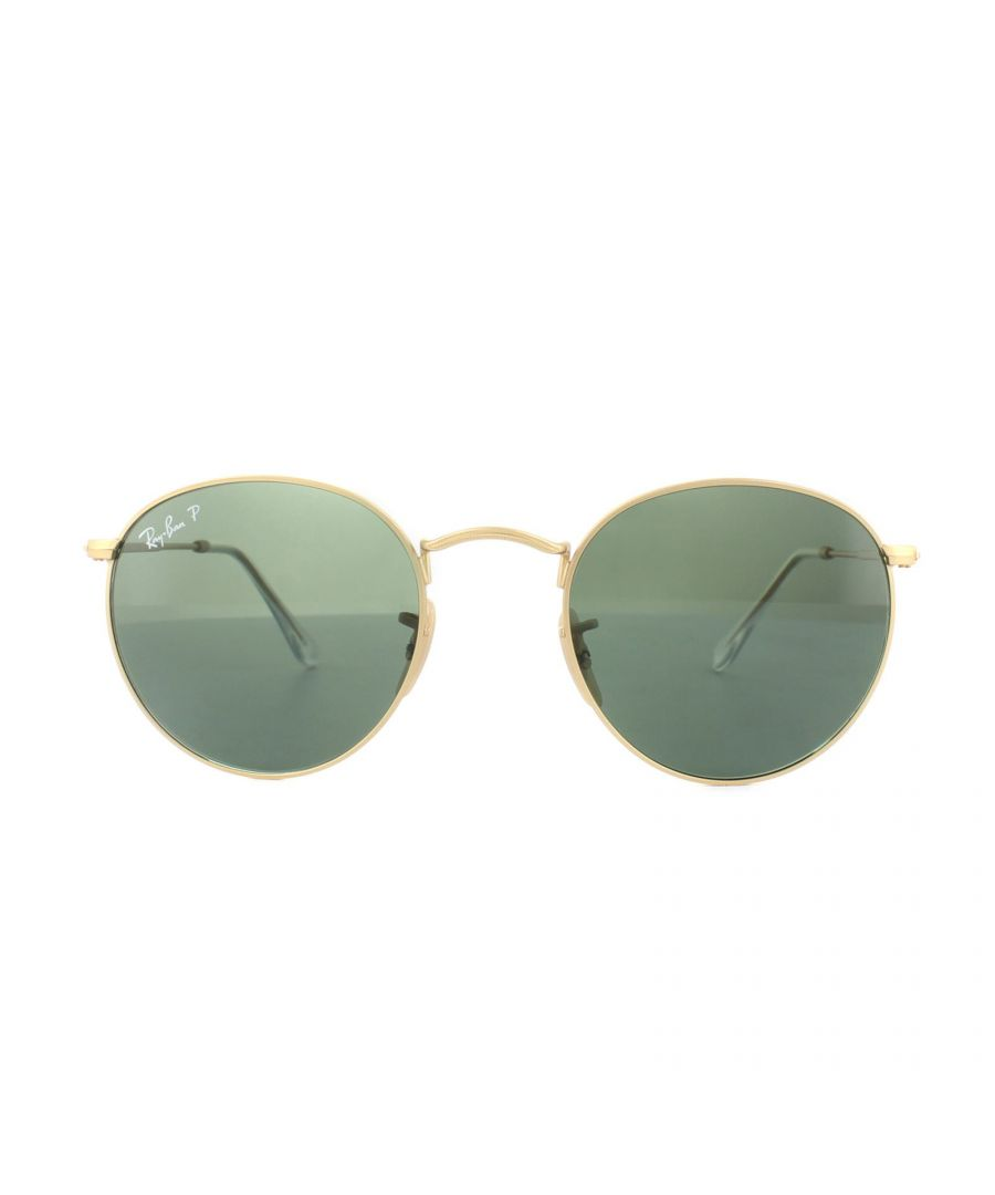 Image for Ray-Ban Sunglasses Round Metal 3447 112/58 Gold Green G-15 Polarized