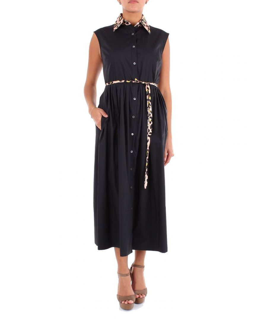 Image for JUCCA WOMEN'S J2917029003 BLACK COTTON DRESS