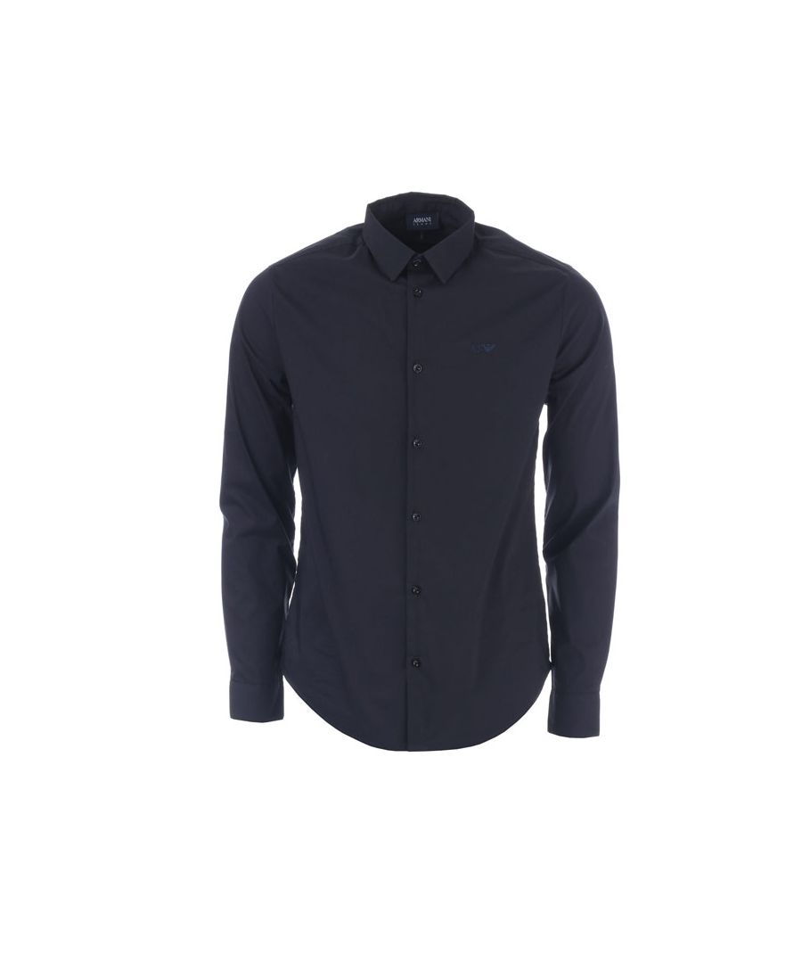 Image for Men's Armani Small Logo Long Sleeve Shirt in Navy