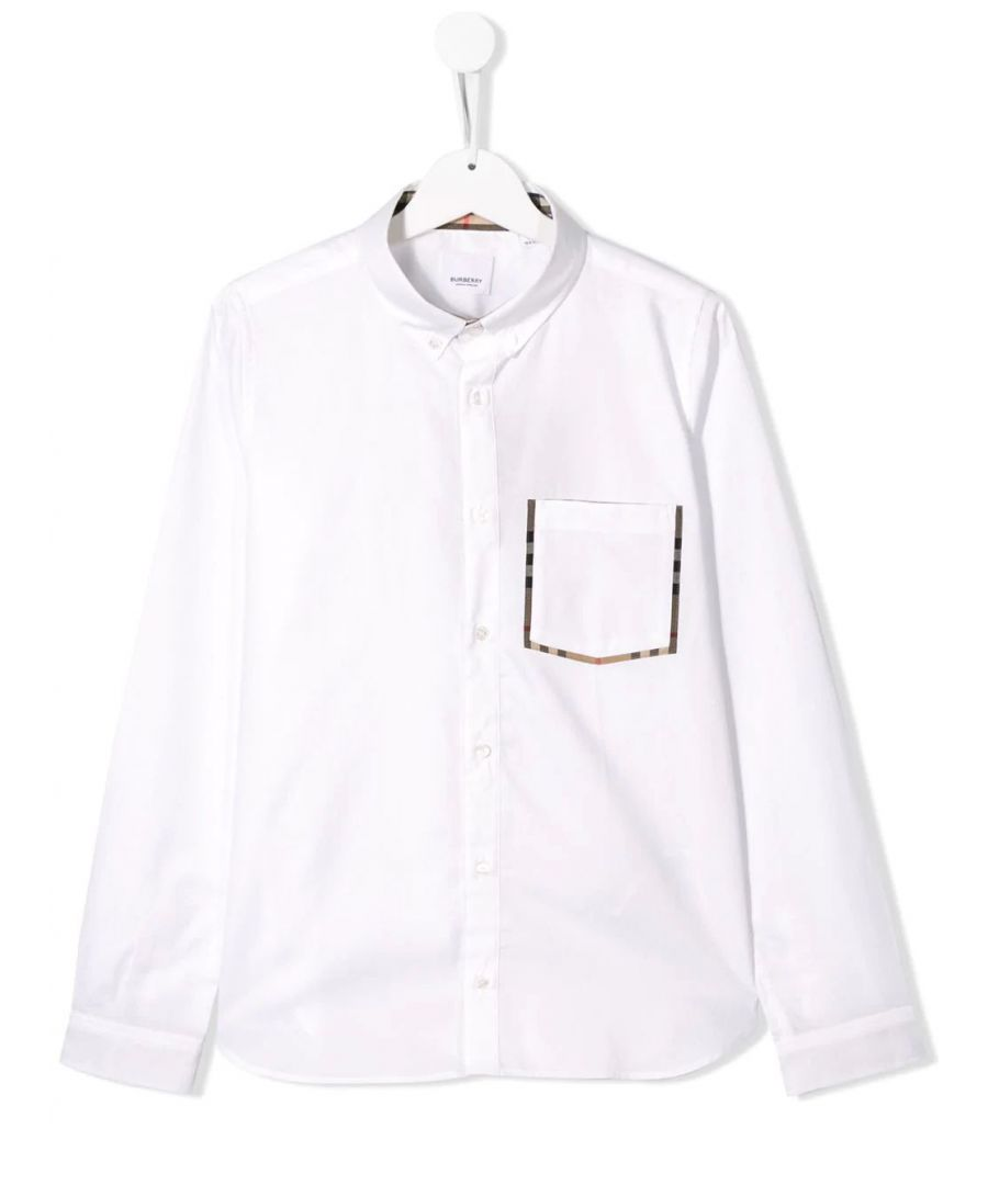 Image for BURBERRY BOYS 8011567 WHITE COTTON SHIRT