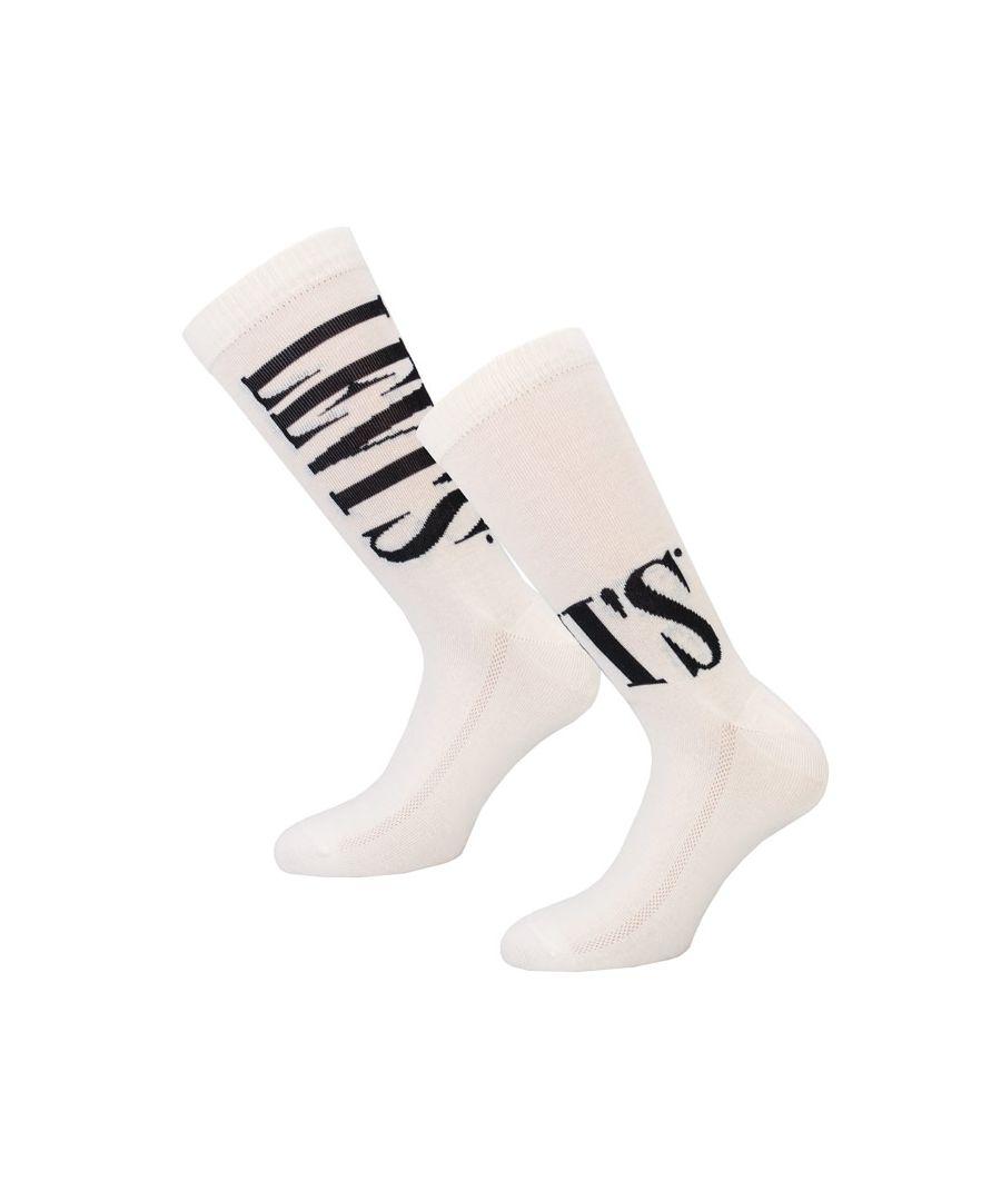 Image for Men's Levis Regular Cut Tall 2 Pack Sports Socks in White