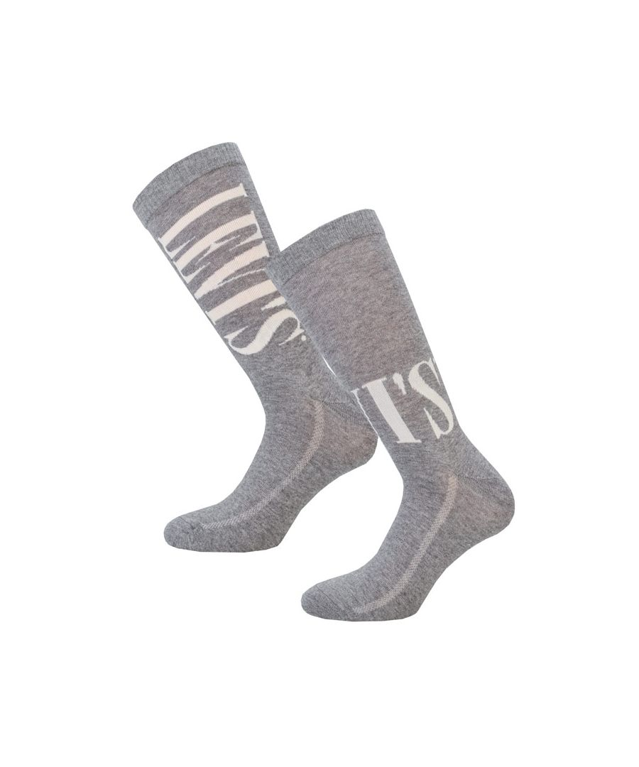 Image for Men's Levis Regular Cut Tall 2 Pack Sports Socks in Grey