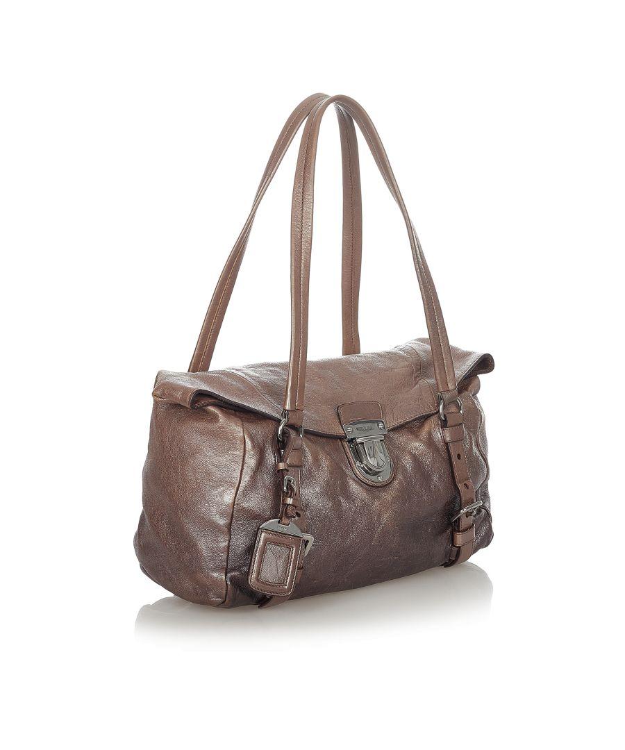 Image for Vintage Prada Vitello Shine Shoulder Bag Brown