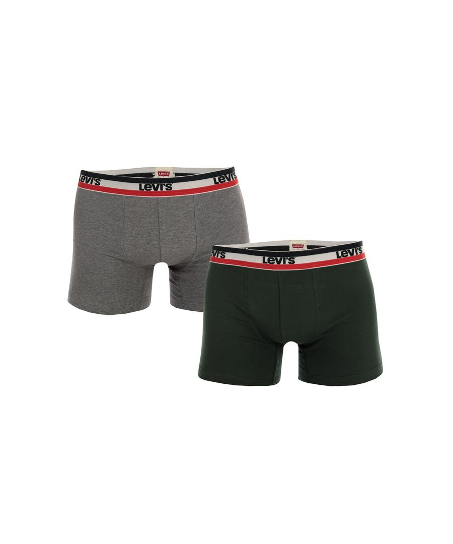 Image for Men's Levis Sports Logo 2 Pack Boxer Shorts in Green