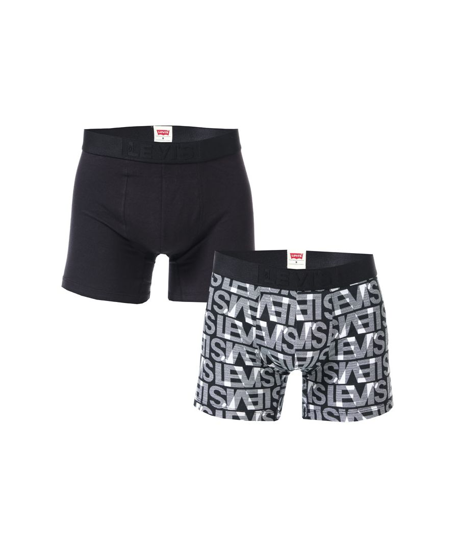 Image for Men's Levis All Over Print 2 Pack Boxer Shorts in Black