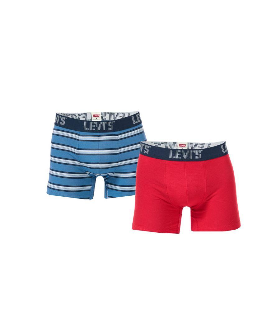 Image for Men's Levis Basic Stripe 2 Pack Boxer Shorts in Navy