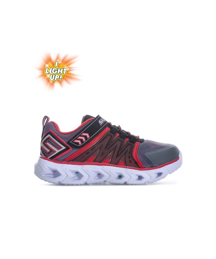 Image for Boy's Skechers Infant Hypno Flash 2.0 Trainers in Grey red