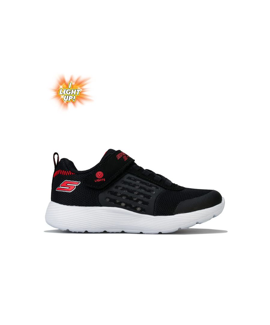 Image for Boy's Skechers Children Dyna Lights Trainers in Black Red