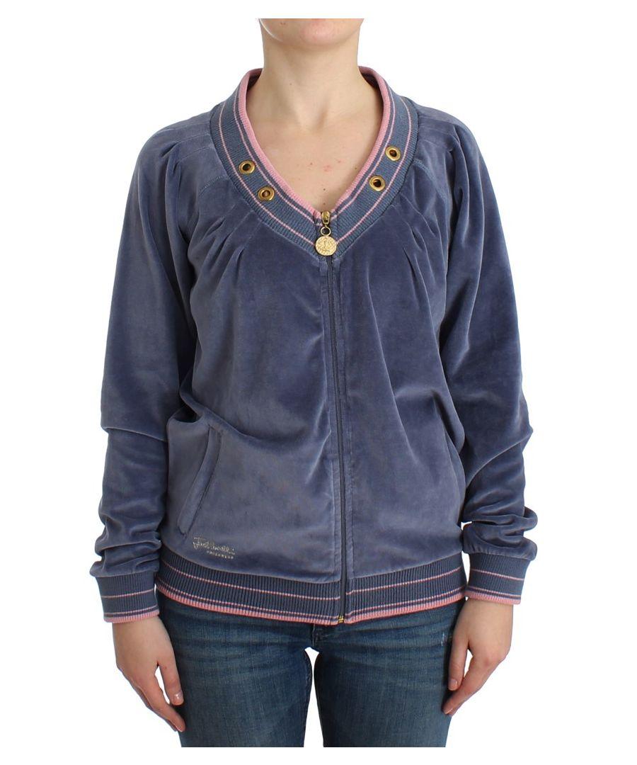 Image for Cavalli Blue velvet zipup sweater