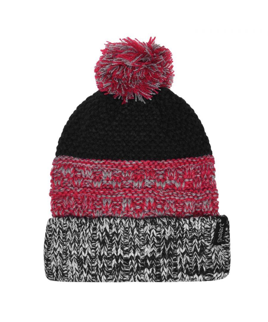 Image for Gelert Girls Knitted Pompom Hat Ribbed Trim Knitted Construction Multi Tonal