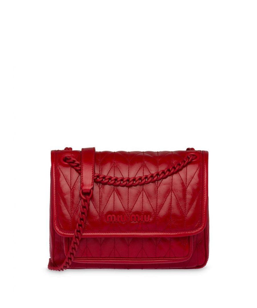 Image for MIU MIU WOMEN'S 5BD161VOOO2D6CF0011 RED LEATHER SHOULDER BAG