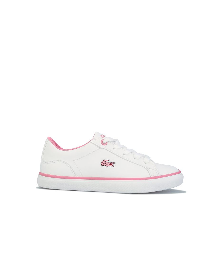 Image for Girl's Lacoste Children Lerond Trainers in White pink